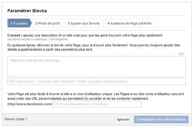 Parametrage page facebook professionnelle